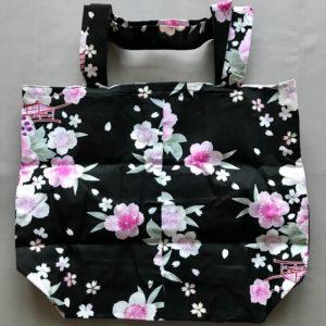 Japansk bæredygtig taske med lyserød blomster