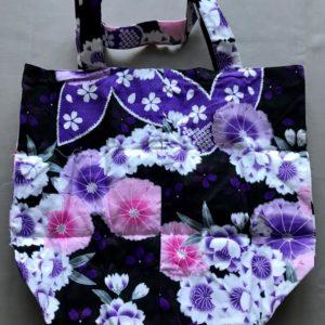 Japansk bæredygtig taske med forskellige blomster